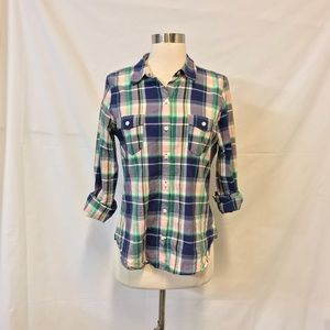 Old Navy Blue & Green Plaid Button Down Shirt